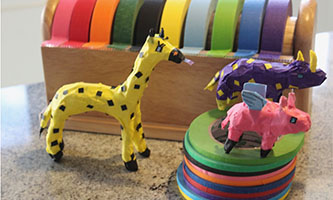 example colorful sculptures made of masking tape