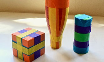 collection of colorful music shakers made from masking tape
