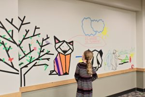 colored masking tape classroom mural