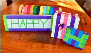 colored masking tape gift wrap